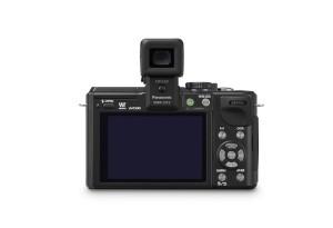 Panasonic Lumix DMC-GX1 - schwarz, von hinten mit optionalem Aufstecksucher (Bild: Panasonic)