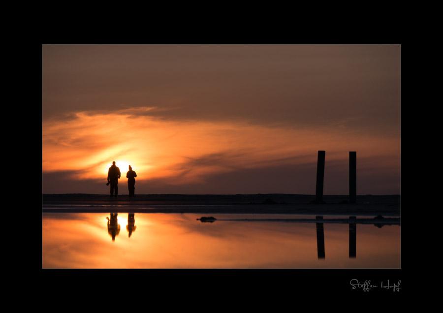 Sonnenuntergang am Strand von Amrum im Wattenmeer der Nordsee
