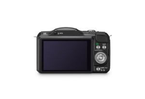 Panasonic Lumix DMC-GF5 - schwarz, von hinten mit Display (Bild: Panasonic)