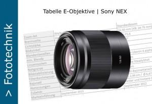 Sony Nex E-Objektive Tabelle